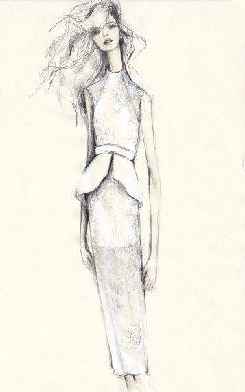 Fashion illustration - peplum dress sketch; feminine fashion drawing // Pippa McManus for Manning Cartell