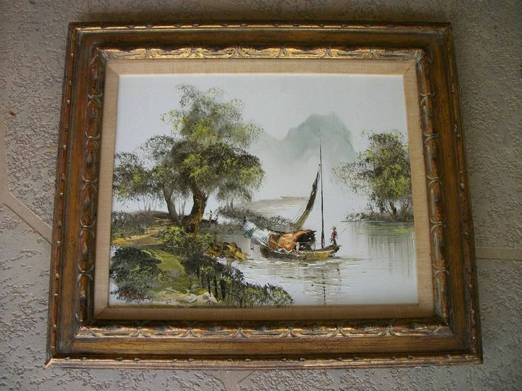 Details About Vintage Hand Painted Oil Painting W Carved