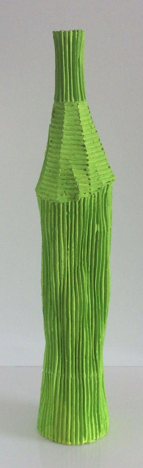 Bottiglia cartocci Paola Paronetto colore verde. H.cm.65xdiametro13.