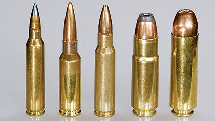 AR-15 Rifle Chamberings - L TO R: .223/5.56 NATO, 6.5 GRENDEL, 6.8 SPC, .458 SOCOM, AND .50 BOEWOLF.