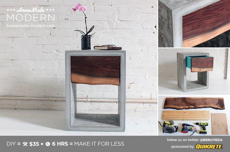 HomeMade Modern DIY Concrete Walnut Nightstand Postcard