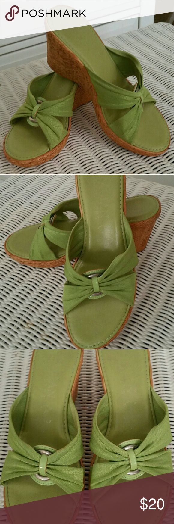 Sandals Green leather w silver accent on top. Purchased at Stein Mart. Worn very little. In great shape. Lime green in color. Worn with an INC sweater in my closet. International Shoemaker Shoes Sandals