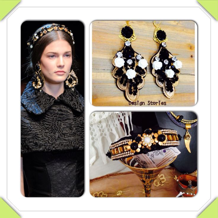 Handmade earrings and headband with gold plated elements
