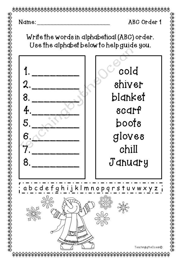 Alphabetical order homework ks1