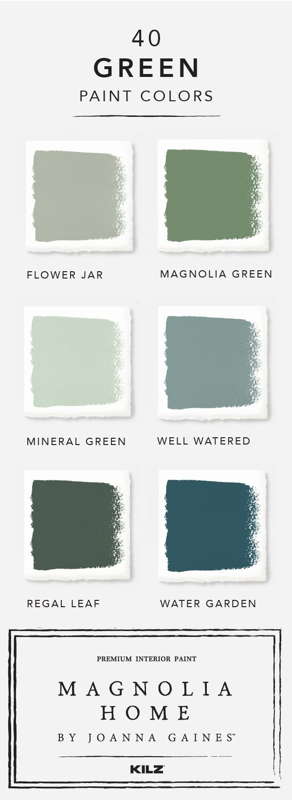 Your friends and family will be green with envy when they see this green color palette from the Magnolia Home by Joanna Gaines™ paint collection in your home. Choose from colors like Flower Jar, Well Watered, and Regal Leaf to create an interior design that's all your own.