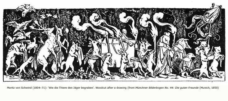 """Moritz Von Schwind's illustration of the hunter's funeral procession in an old book of fairy tales known to all children in South Germany. The animals of the forest escort the dead forester's coffin to the grave"""" (Wright)."""