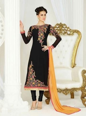 Partywear Black Embroidered Indian Salwar Kameez Designs ,Indian Dresses - 1