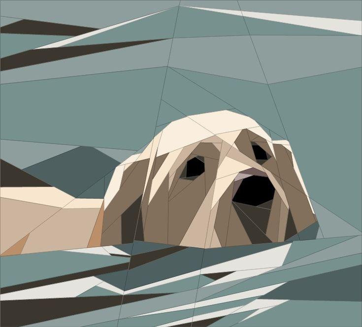 Labrador Swimming Paper Piecing Patterns quiltartdesigns.blogspot.com