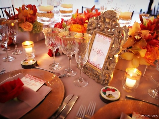 D coration de table pour mariage th me automne orange for Centre de table automne