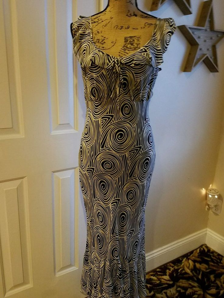 GEORGIOU Studio maxi dress summer size 8 silk black white sexy #Georgiou #Maxi #Casual