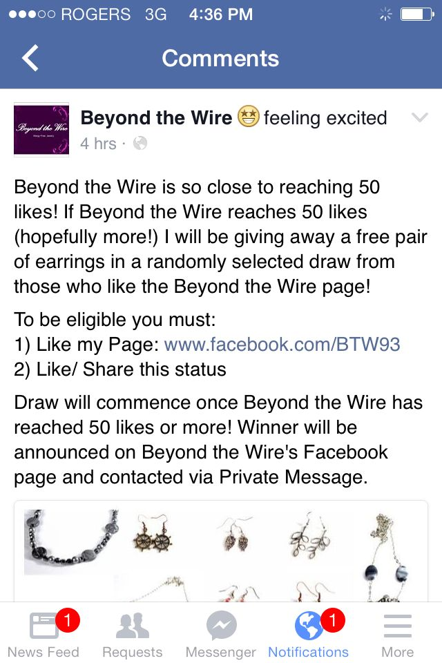 Help us reach 50 likes on our facebook page and be entered in a draw for a free pair of earrings! www.facebook.com/BTW93