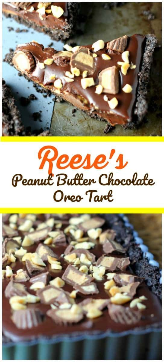 Reese's Peanut Butter Chocolate Oreo Tart - It's magnificently rich, bursting with peanut butter and chocolate explosions all snuggled in a delectable Oreo biscuit crust. *Big Drools!*