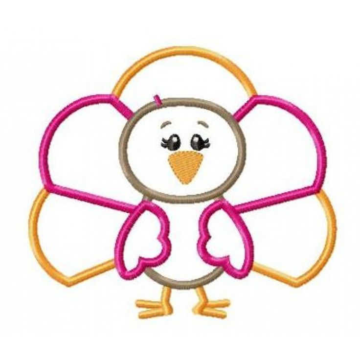 Happytown turkey pilgrim girl appliqué design