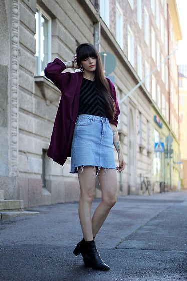 Get this look: http://lb.nu/look/8421841  More looks by Paz  Halabi Rodriguez: http://lb.nu/pazhalabirodriguez  Items in this look:  Smoking Vintage Burgundy Blazer, Oysho Velvet Body Suit, Zara Irregular Hem Denim Mini Skirt, Zara Mid Rise Boots   #casual #chic #street #blogger #newpost #helsinki #chile #barcelona #madrid