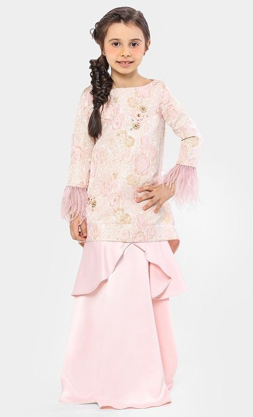 Aravali Brocade Kurung Set in Pink  ae72d3704e
