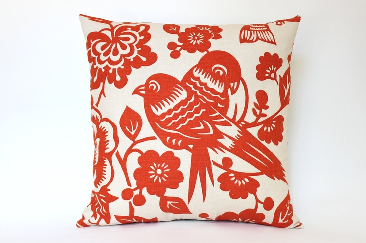 Handmade Pillow Cover with Tangerine Orange Birds on Both Sides. $55.00, via Etsy.