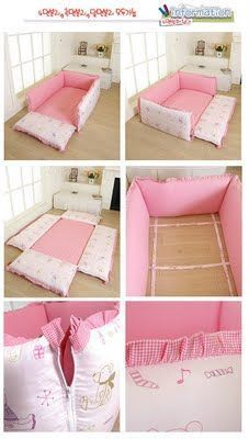 baby bed on the floor, Korean style (this is just like the Montessori style I keep seeing!)