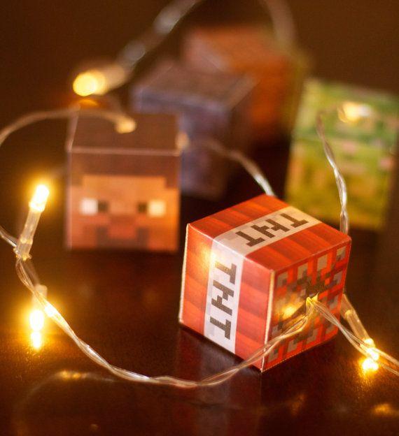 MINECRAFT LED lit lanterns fairy lights by GabitatEmporium on Etsy
