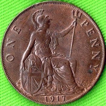 1917 UK penny reverse, George V