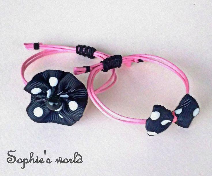 χειροποίητα βραχιόλια με λουλούδι κ φιογκάκι πουά #bracelets #polcadots #pink #handmade #flower #bow #makrame  https://www.facebook.com/SophiesworldHandmade/