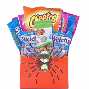 "Too old to go Trick-or-Treating? Bring Halloween to them with this spooktacular collection of ""mature"" treats! Goodies include assorted Frito-Lay brand chips, assorted Jelly Belly gourmet jelly beans, Skittles candy, Mike and Ike candy, Welch's Fruit Snacks and the spider is a decorative clip! Bet they can't resist!"
