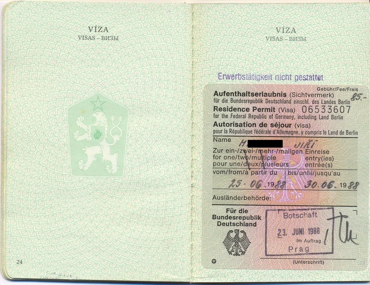 vízum do SRN (1988)