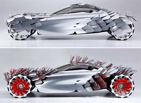 4. Mobil Mewah Bertenaga Solar, Dg fisik ramping yg sangat mirip dg yg lain konsep kendaraan futuristik listrik, Lovos BMW tetap menonjol