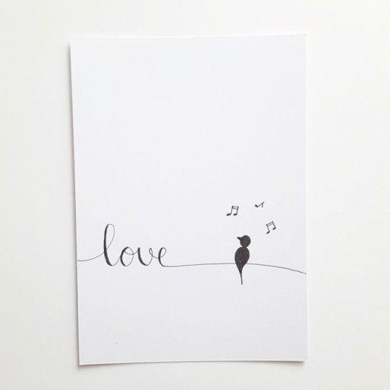 Handgeletterde kaart 10,5 x 14,8 cm.kaart love
