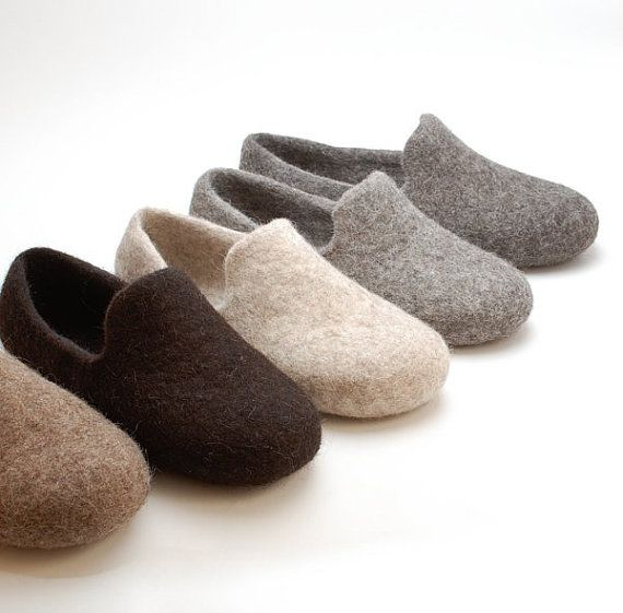 Felted wool slipper loafers beige - eco slippers - handmade felt organic wool house shoes