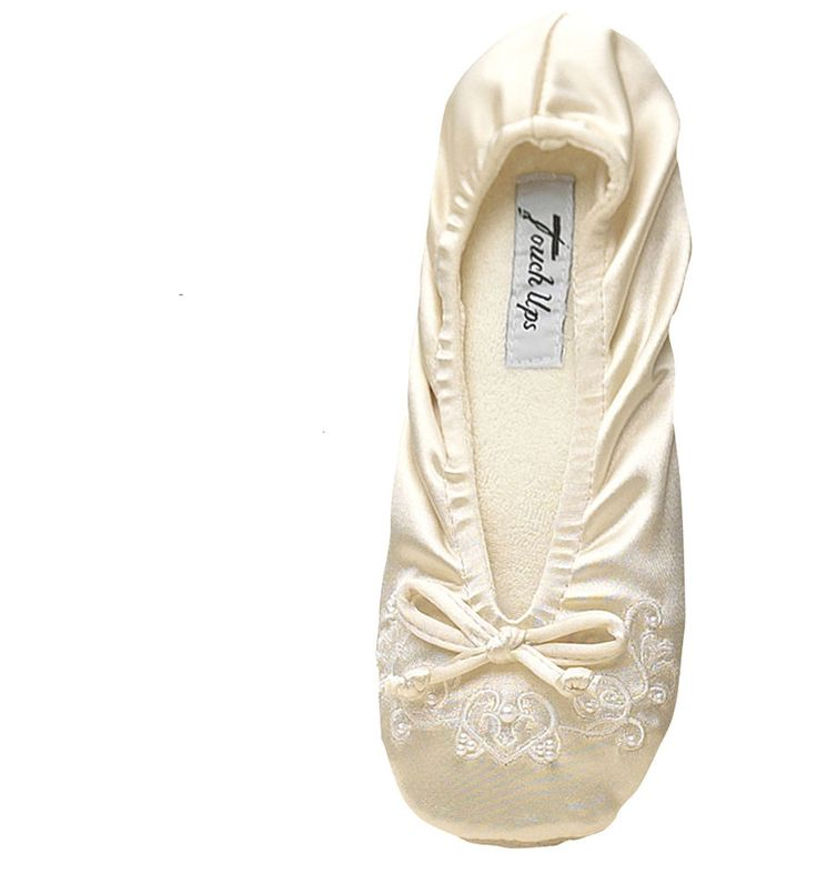 Girls Wedding Bridal IVORY Satin Spandex Ballet Slipper Embroidery Pearls Molly TouchUps BallettypeSlippers