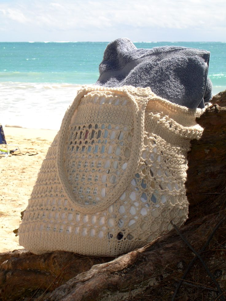 Not A Sandy Bottom - knitted bag pattern.