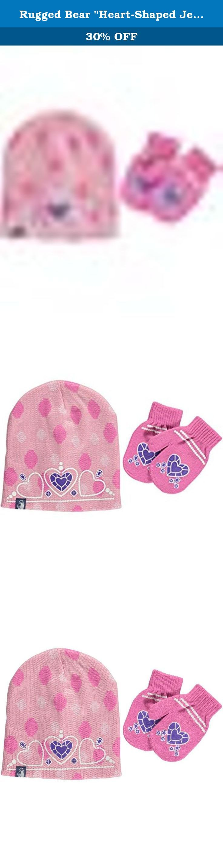 rugged bear heart shaped jewel beanie mittens set light pink