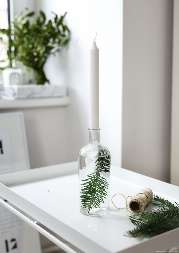 Festive Candle Holder with Evergreen DIY
