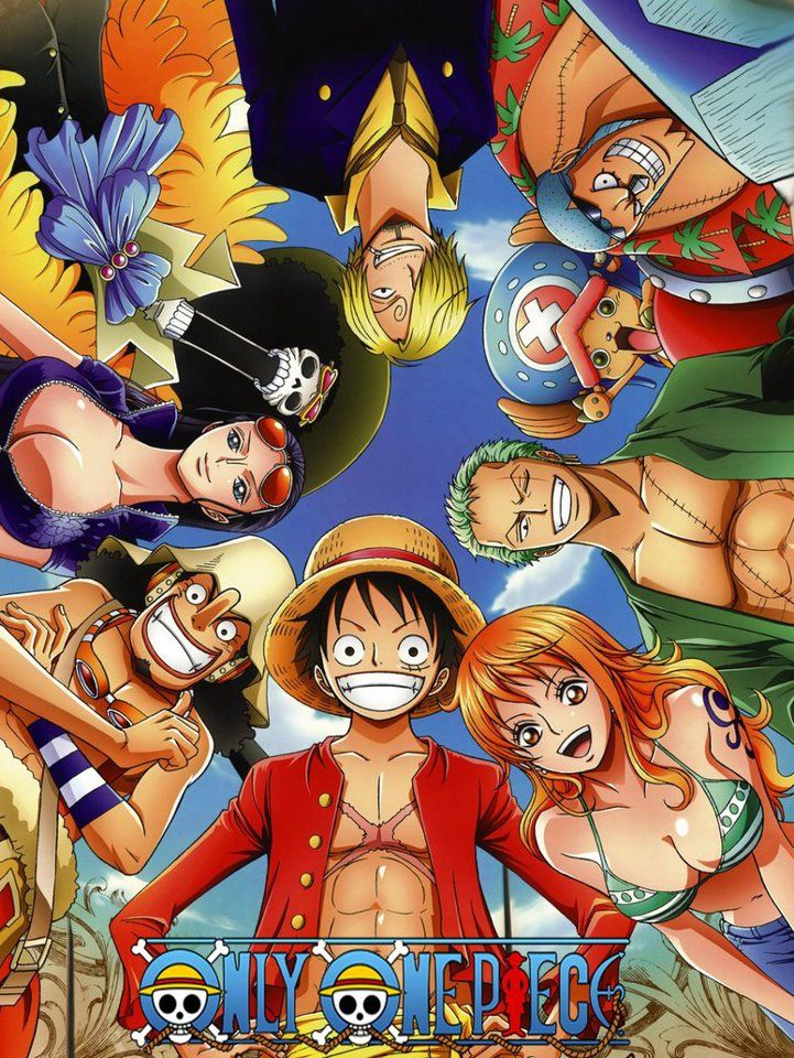 One Piece Anime Starting At Bottom Captain Luffy Nami Zoro Chopper Franky