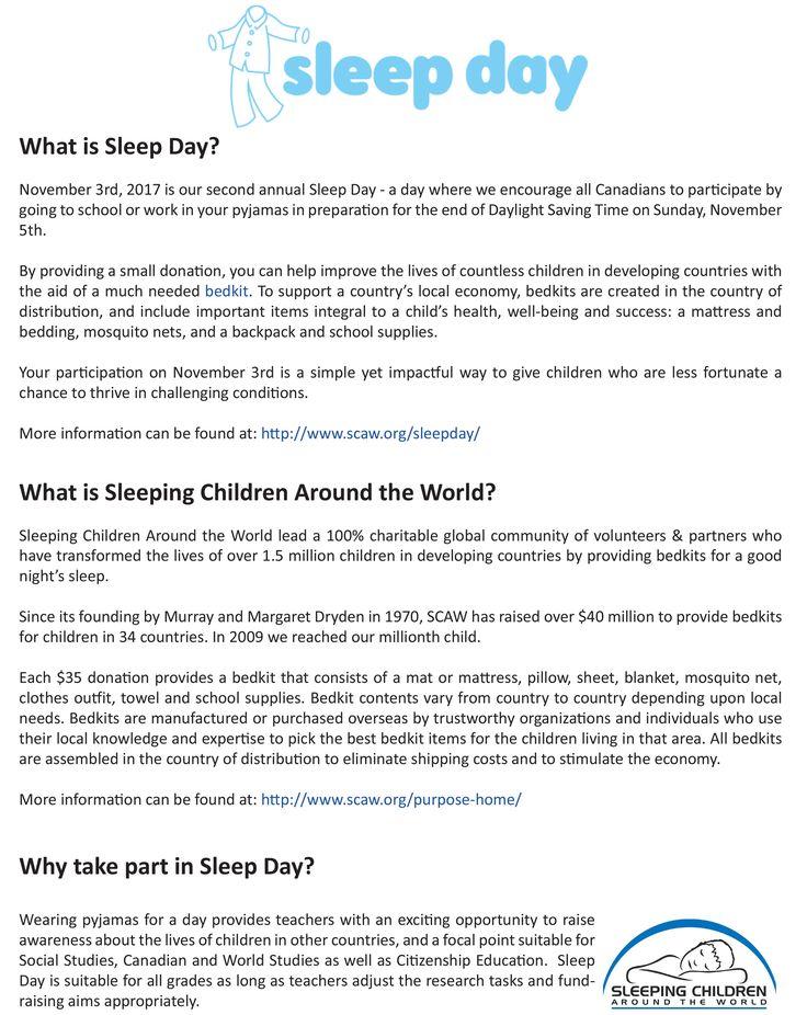 Teacher Resource for Sleep Day- page 1