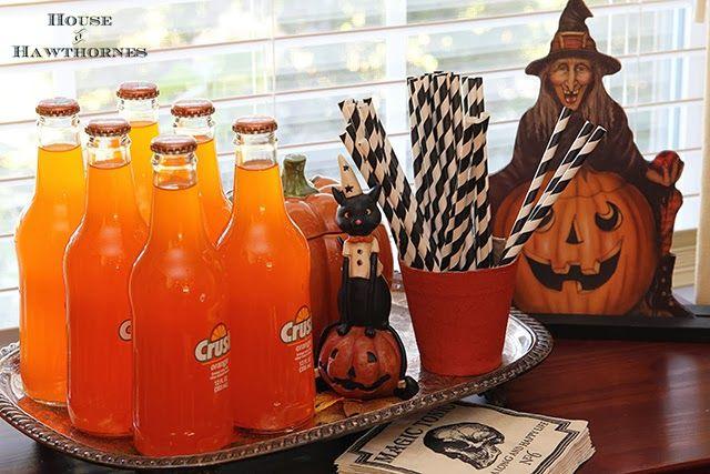 Vintage style Halloween party decor LoVe the Orange Crush Bottles!!! and the Black/White Straws!*!*!