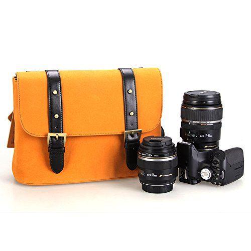 Koolertron Impermeabile Vintage moda dell'unità di elaborazione di cuoio della macchina fotografica DSLR Borsa a tracolla Messenger Bag Adatta DSLR con 2 lenti per Canon Sony Nikon Canon Olympus Ecc (Giallo) koolertron http://www.amazon.it/dp/B00MWP25FY/ref=cm_sw_r_pi_dp_mLNfvb15FTDNN