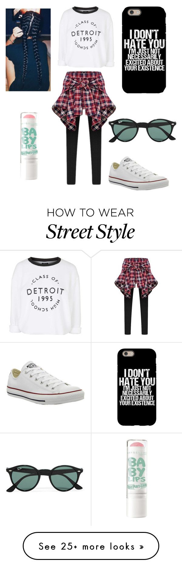 """""""Street style """" by kayleemwallace on Polyvore featuring Converse, Topshop and Ray-Ban"""