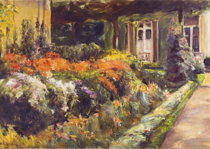 Max Liebermann - Blumenstauden am Gärtnerhäuschen nach Osten, 1928.