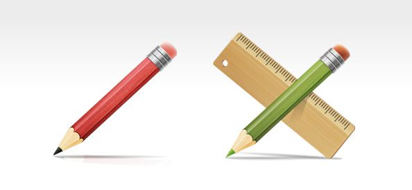 Pencil and Ruler Icons