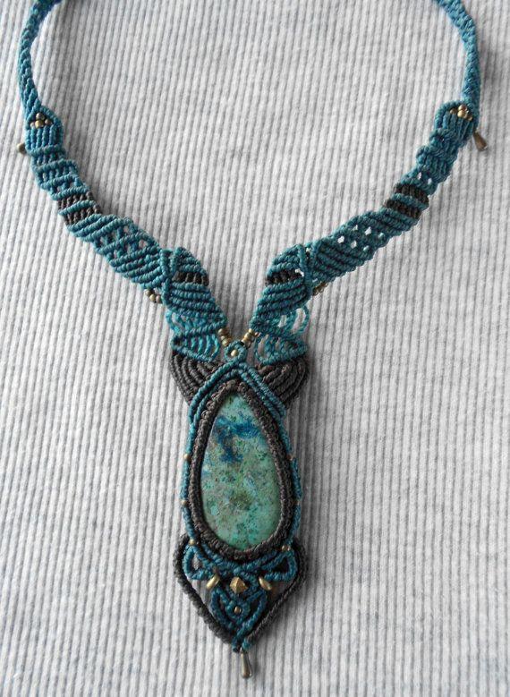 Collar macrame Handmade macrame necklace Macrame por GipsyCrafts