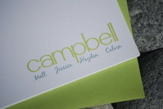 Campbell Family Personalized Note Card Stationary Set by takenote, $16.00