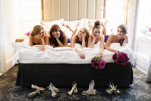 Picture with the bride and bridesmaids.