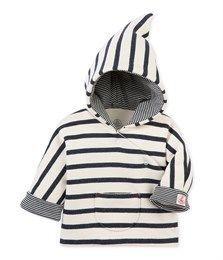Veste bébé à capuche beige Coquille / bleu Smoking - Petit Bateau