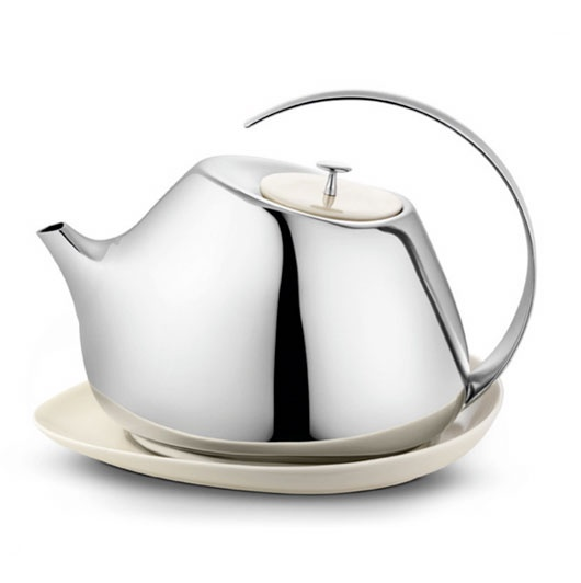 Helena Teapot by Helena Rohner: Stainless steel with a white porcelain lid.