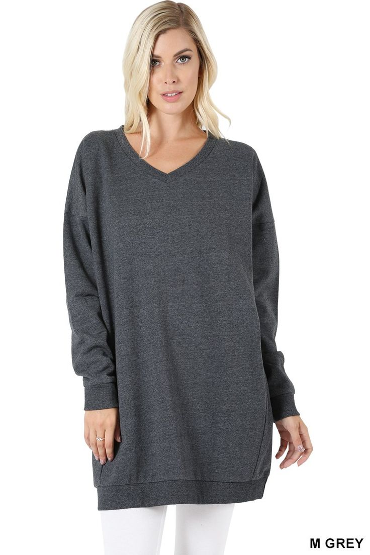 Women Oversized Loose Fit V-Neck Tunic Length Sweatshirts Top -5955