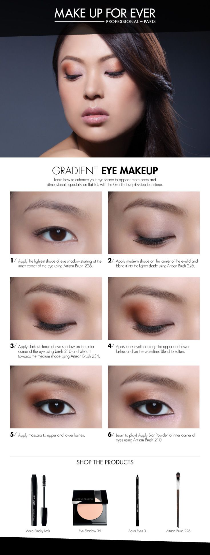 Gradient Eye Makeup -use this technique to give the illusion of wider set eyes.   #Makeupforever