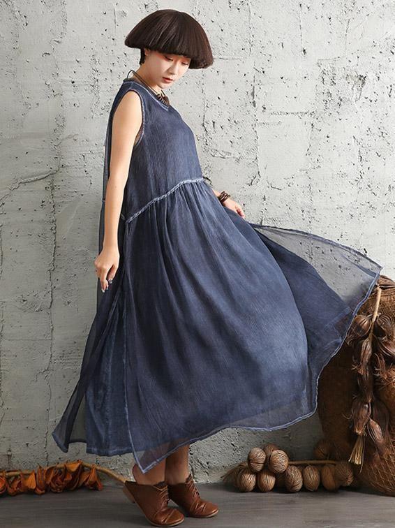 38ca13ea2494d 4 Colors Simple Sleeveless Ramie Cotton Long Dress – moongor ...
