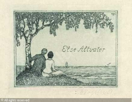 Bookplate by Heinrich Johann Vogeler for Elise Altvater, ??
