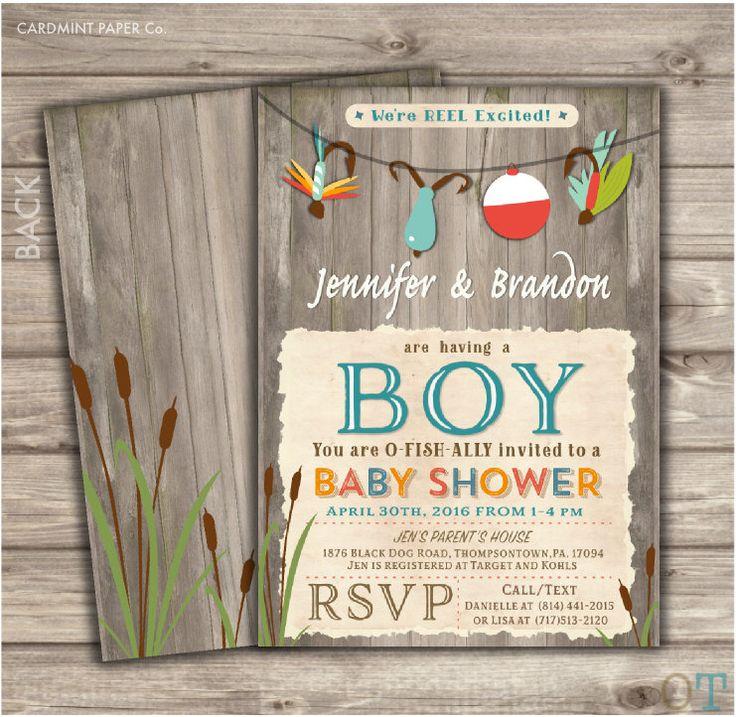 Fishing Baby Shower Invitations Boy Shower invites NV873 by cardmint on Etsy https://www.etsy.com/listing/272099682/fishing-baby-shower-invitations-boy